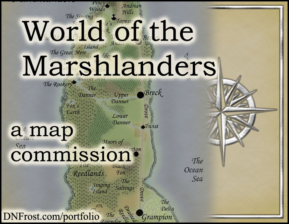 World of the Marshlanders: eco-fiction of Annis Pratt http://www.dnfrost.com/2016/11/world-of-marshlanders-map-commission.html A map commission by D.N.Frost @DNFrost13 Part 1 of a series.