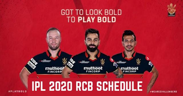 IPL 2020: Royal Challengers Bangalore (RCB) Full Schedule