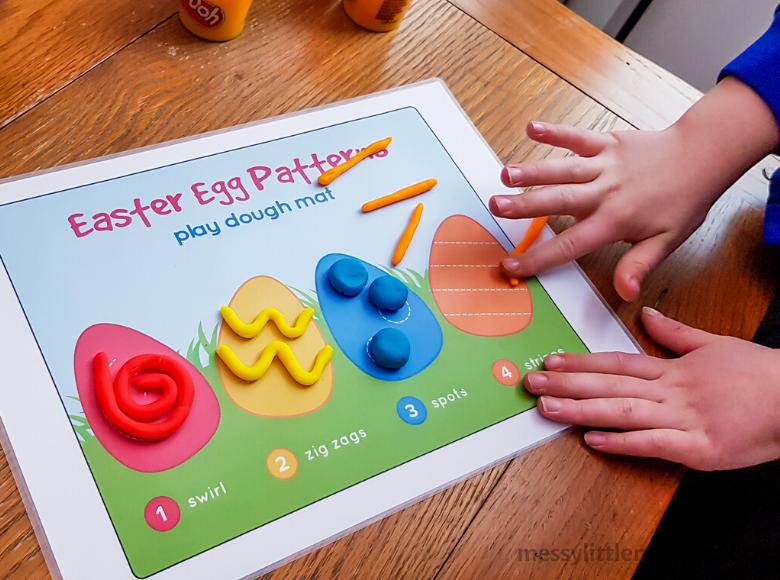 Easter playdough mat activity for kids