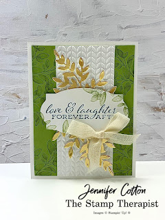 This card is from my latest Facebook Live uses Stampin' Up!'s Forever Fern set, Forever Flourishing dies, Forever Greenery Trim Combo Pack, and Greenery embossing folders. Click the pic to see video and supply list.  #StampTherapist #StampinUp