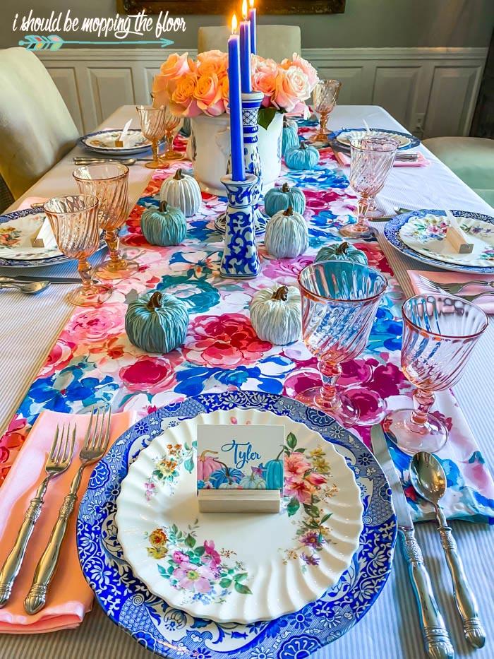 Blue Autumn Tablescape