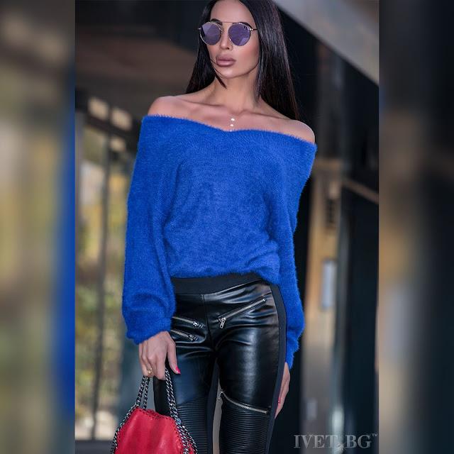 Μοντέρνα μπλε γυναικεία μπλούζα TANSY