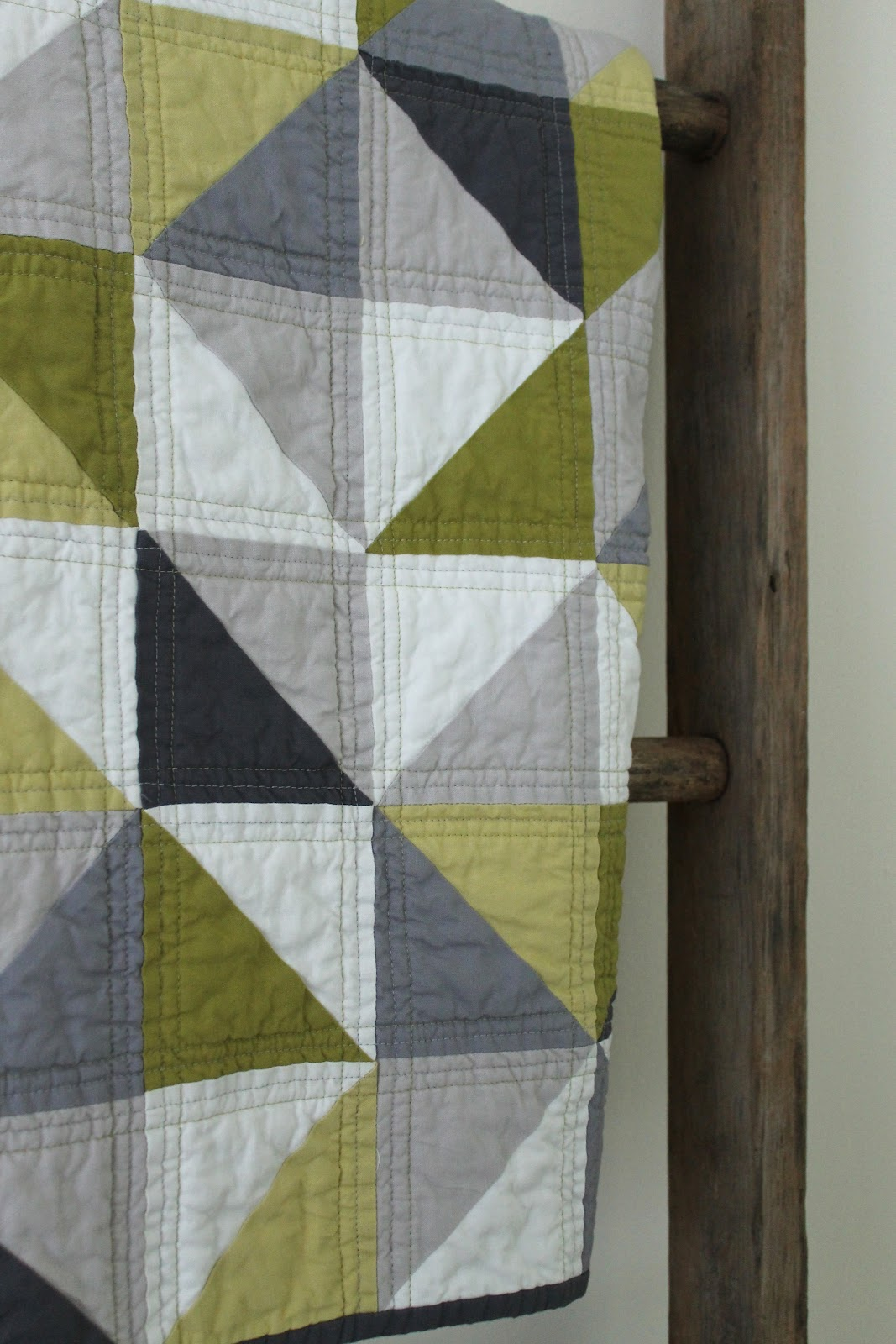 Craftyblossom Grey And Green Geometric Quilt