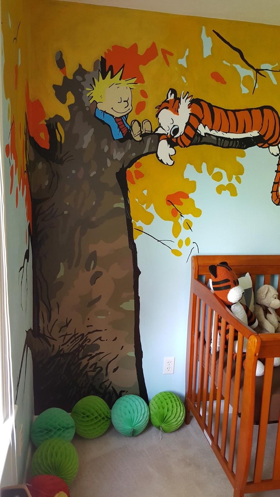 Candi spice and all things nice calvin hobbes nursery for Calvin and hobbes nursery mural