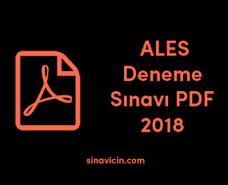 ALES Deneme Sınavı PDF 2018