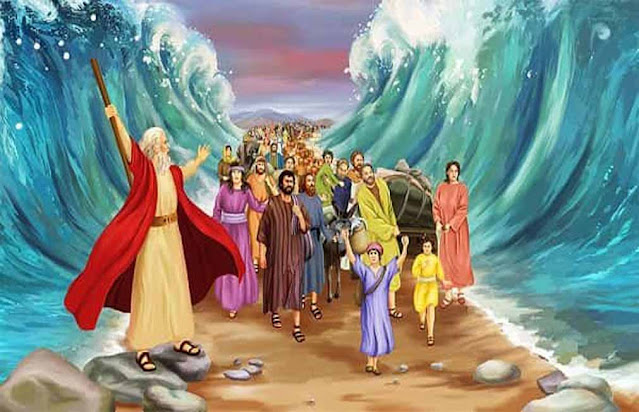 Painting of moses and the Israelite crossing the red sea