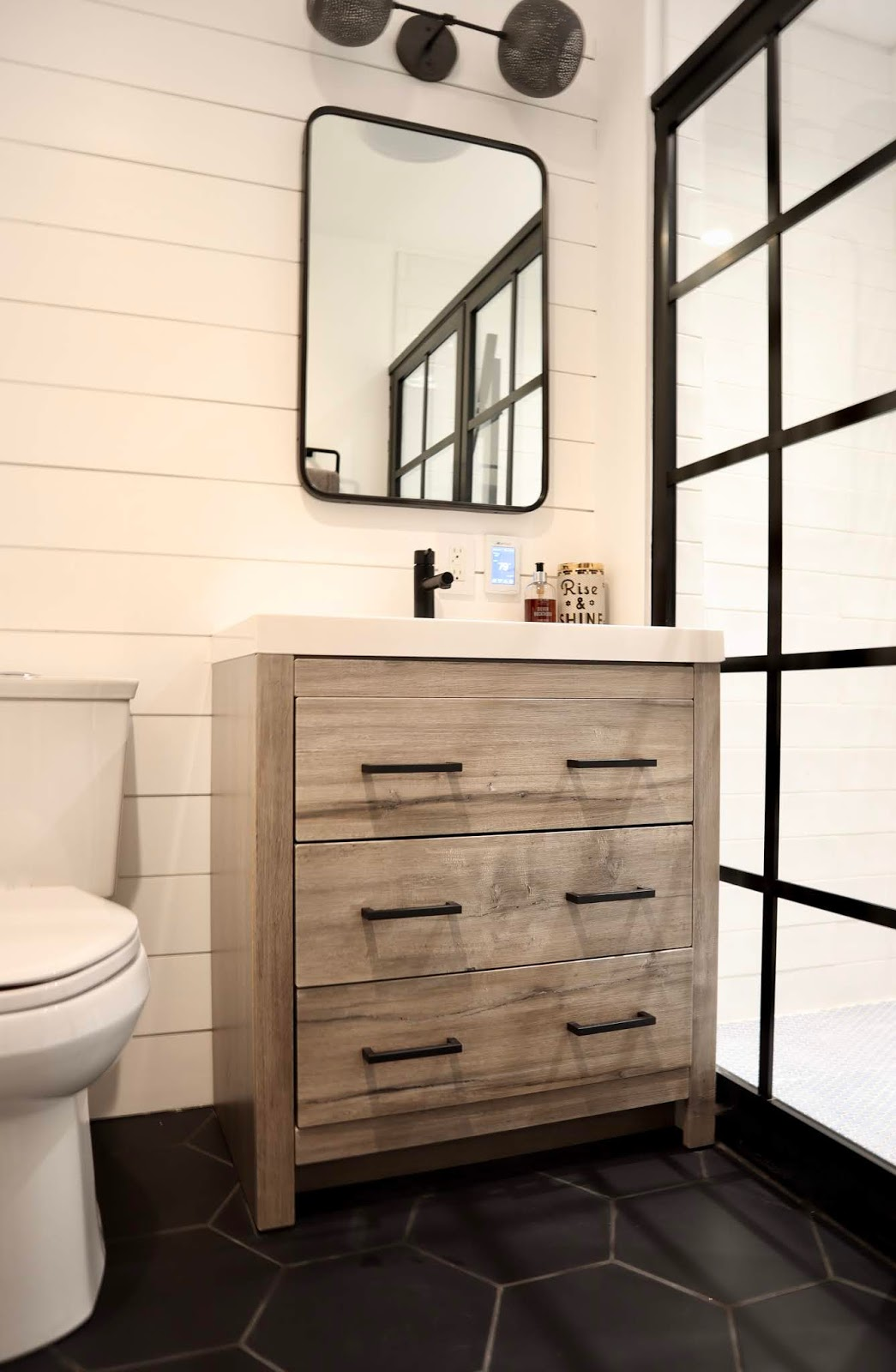 My sweet savannah our fixer upper bathroom is finished - Fixer upper long narrow bathroom ...