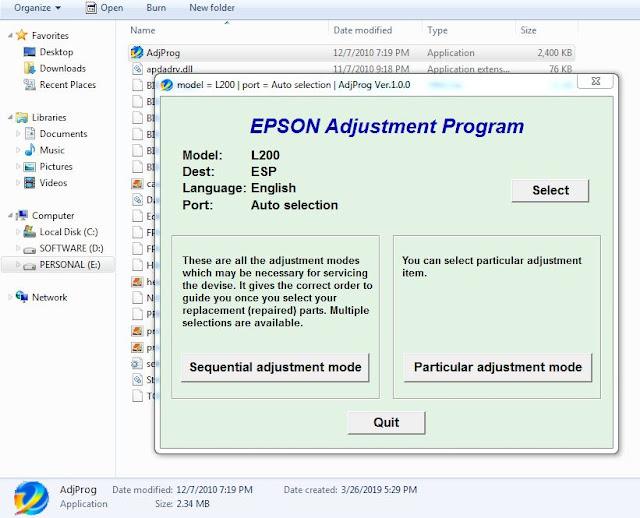 Epson L200 resetter