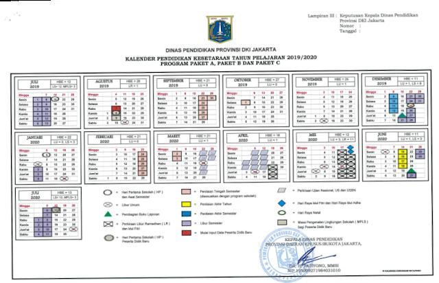 Kalender Pendidikan Tahun Pelajaran 2019/2020 Provinsi DKI Jakarta