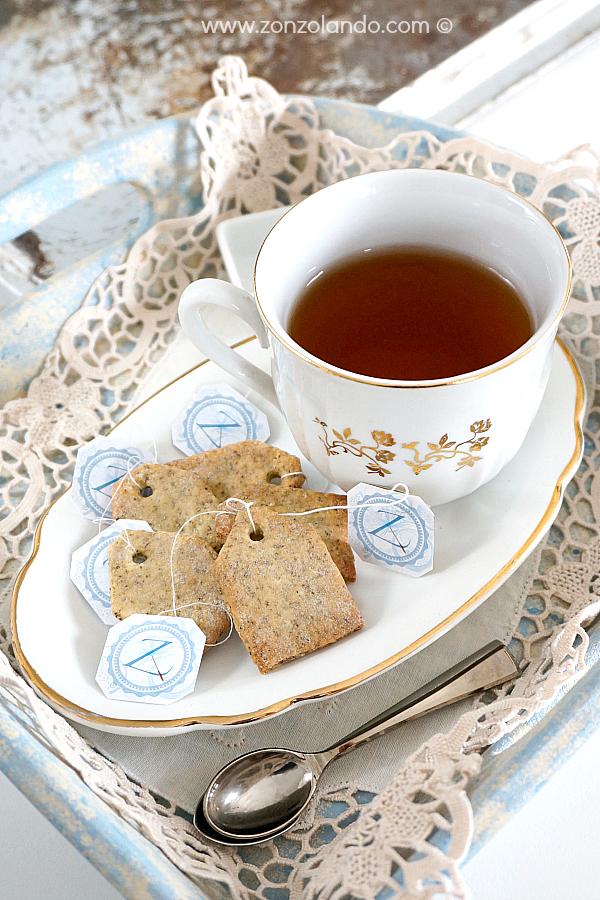Ricetta dei biscotti al tè a forma di bustina da tè Earl Grey tea bag biscuits (cookies) recipe
