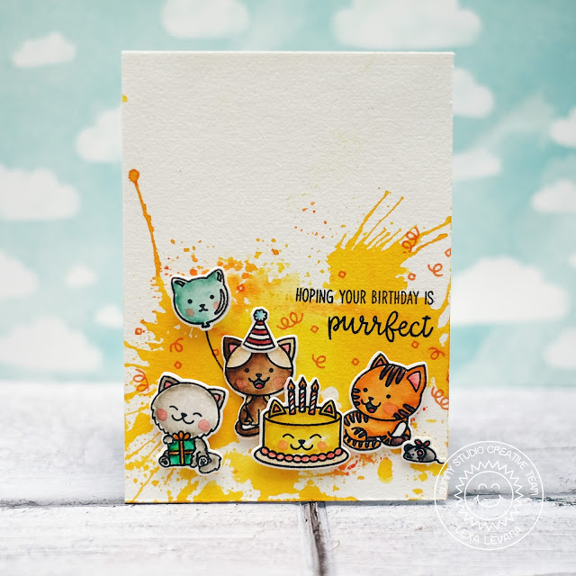 Sunny Studio Stamps: Purrfect Birthday Watercolor Splash Background Birthday Card by Lexa Levana