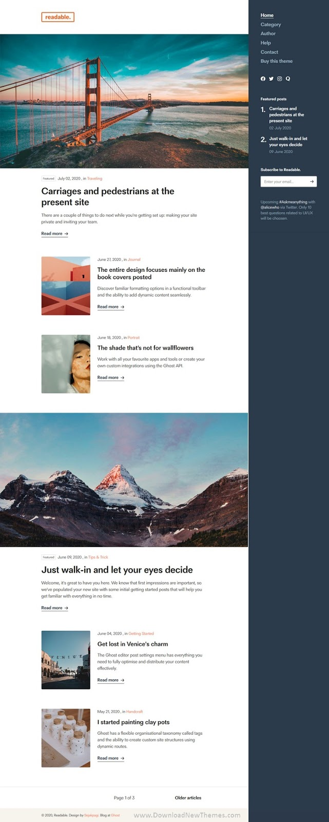 Download Simple Blogging Ghost Theme