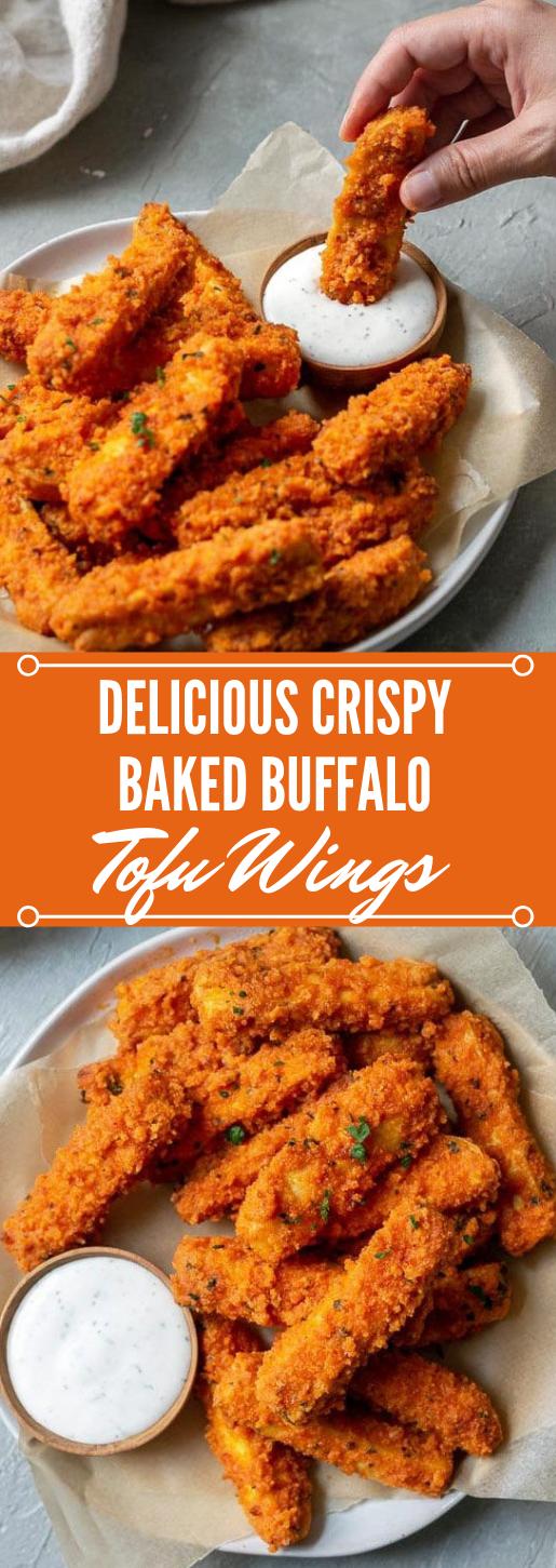 CRISPY BAKED BUFFALO TOFU WINGS #buffalo #baked #crispy #vegan#vegetable