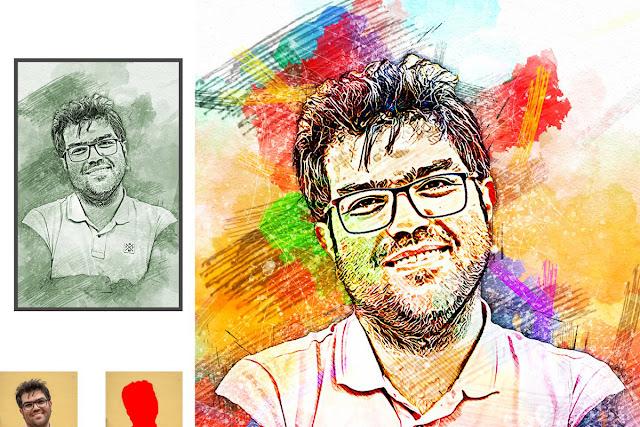 Sketch Watercolor Effect PS Action 520355