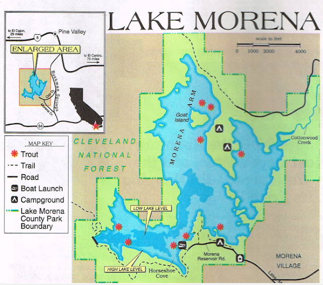 Lake morena fishing map and fish reports, how to fish Morena, San Diego County