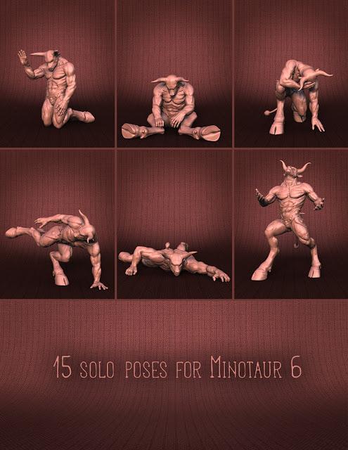 Combat Poses for Minotaur 6 and Reptilian 6