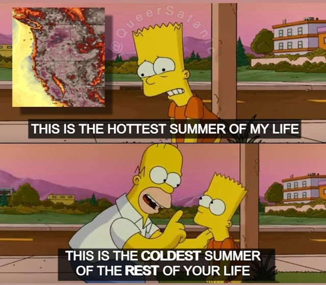 """A meme composite image using Bart and Homer Simpson. The first panel shows Bart, looking disturbed, with a picture of a map of the US west coast burning and the text """"this is the hottest summer of my life."""" The next panel is Homer, leaning in like he's correcting Bart and saying, """"This is the coldest summer of the rest of your life!"""""""