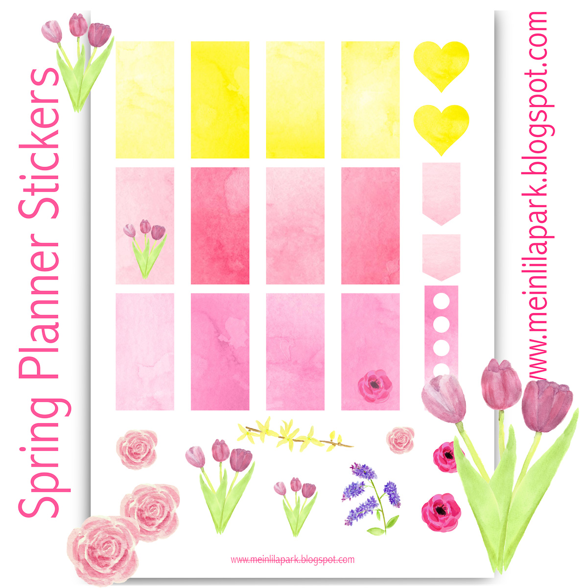 free printable spring planner stickers - ausdruckbare agendasticker