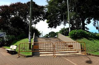 Barricade in front of the park in Santiago de Puriscal