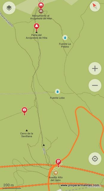mapa ruta de senderismo corta Arcipreste de Hita