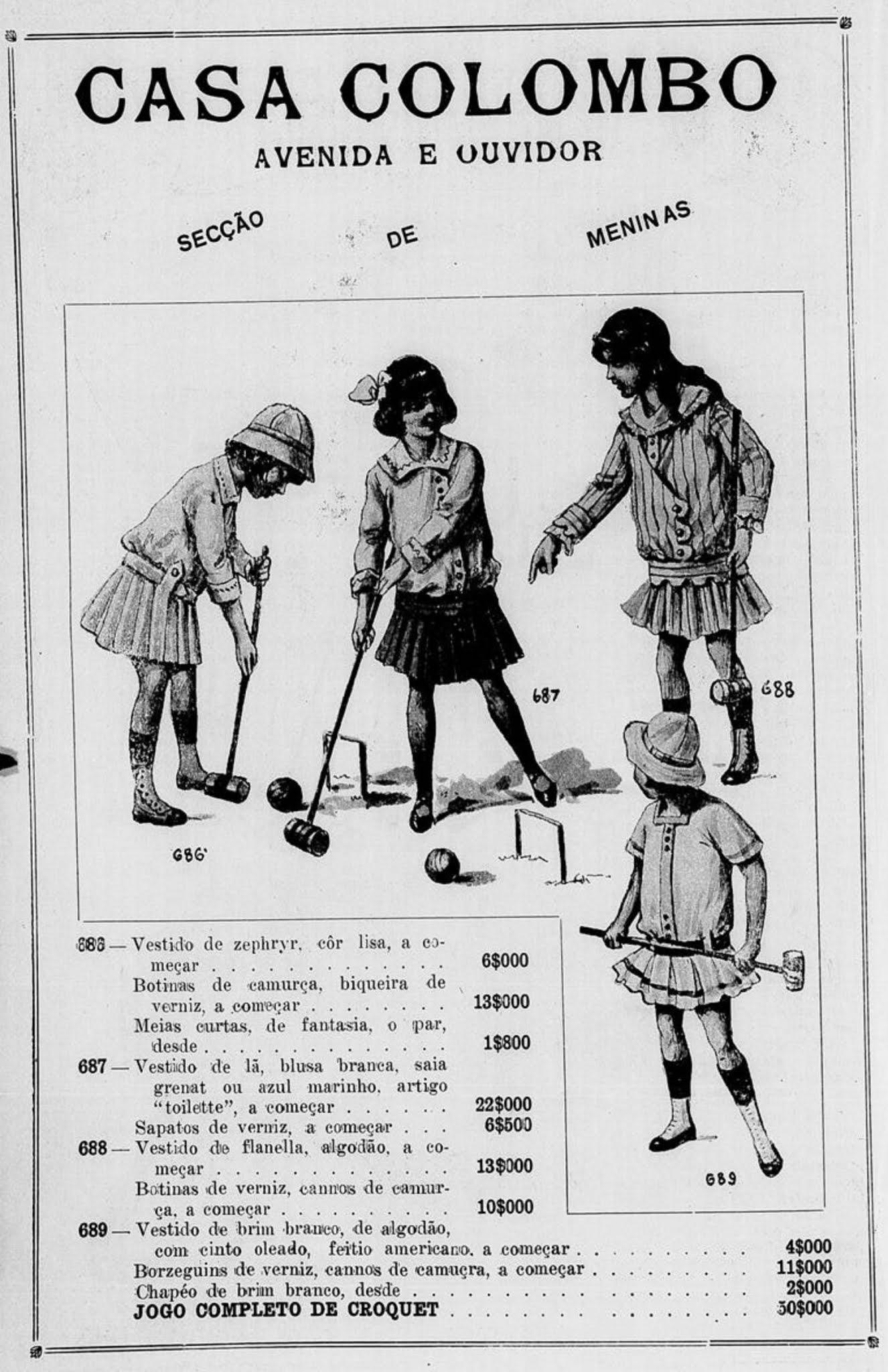 Anúncio de 1916 promovia a Casa Colombo junto com sua linha de moda para meninas