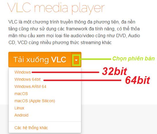 Link download VLC Media Player full 32bit, 64bit về Win 7, 10 miễn phí a
