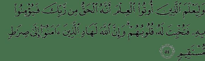 Surat Al Hajj ayat 54