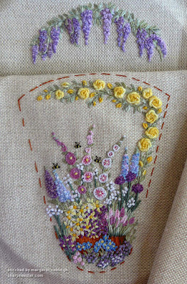 Completed embroidery for front and inside back on Lorna Bateman-designed scissors keeper