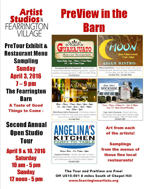 PreView in the Barn at Fearrington April 3rd 7-9pm
