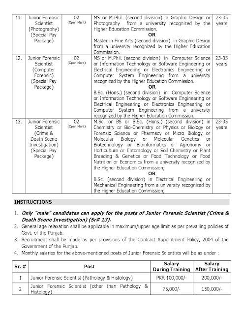 Crime Investigation Agency CIA Jobs_ Forensic Science Agency PFSA Jobs 2021
