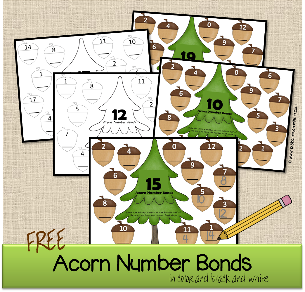 Acorn Number Bonds Math Worksheets
