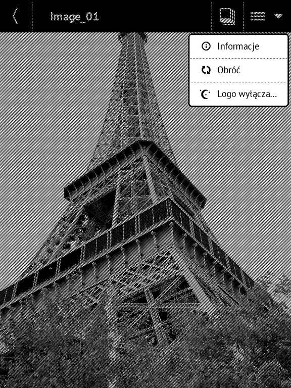 PocketBook Basic Touch 2 Save & Safe – rozwijane menu aplikacji Galeria