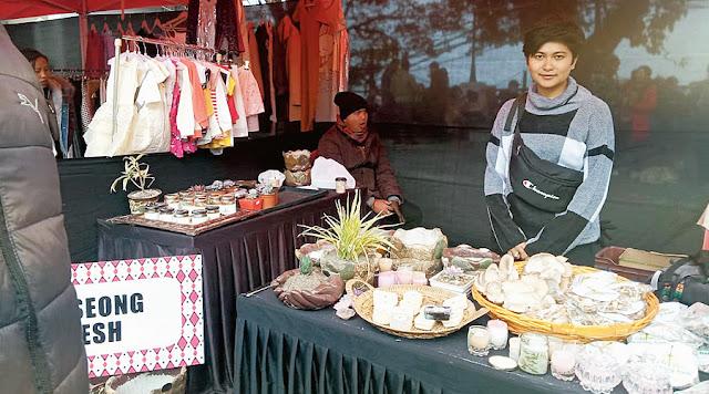 Kabya with mushrooms at her stall in Gundri Bazaar, Darjeeling