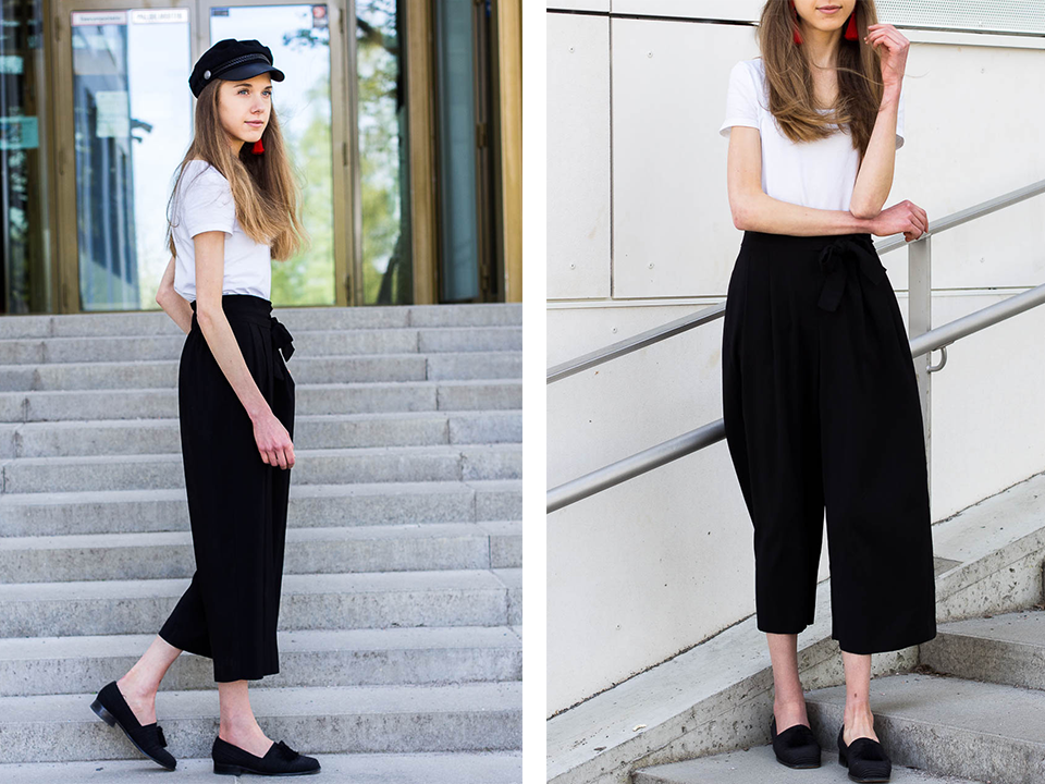 black-and-white-outfit-with-red-tassel-earrings