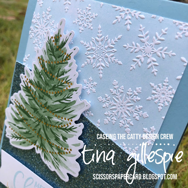 scissorspapercard, Stampin' Up!, CASEing The Catty, Tag Buffet Project Kit, Joy To The World Paper Pumpkin, Winter Snow EF, Home Together Dies, Christmas Card