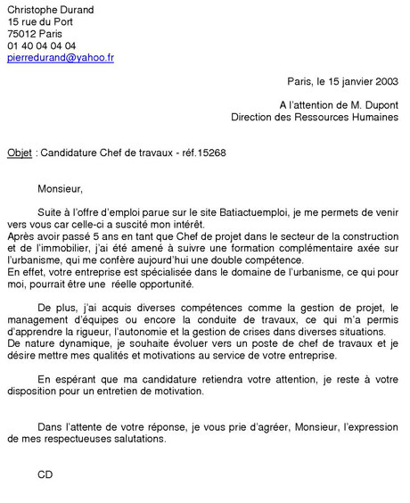 lettre de motivation onu Le Cahier de Français: LETTRE DE MOTIVATION lettre de motivation onu