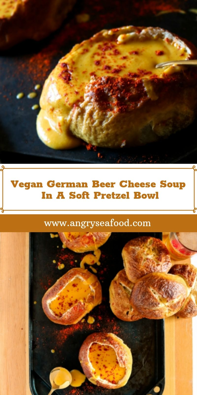 Vegan German Beer Cheese Soup In A Soft Pretzel Bowl