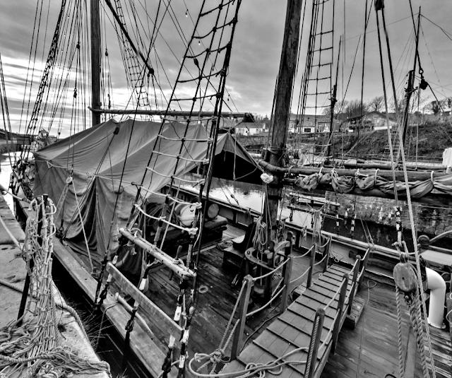 Kajsamoor tall ship in Charlestown, Cornwall