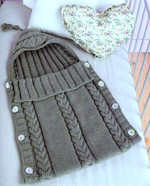 Cabled Baby Sleeping Bag - Free Pattern