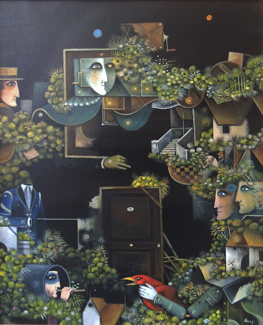 Eduard Alcoy obra arte acrílico lienzo surrealismo puerta cerrada mensaje