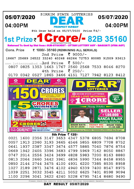 Sikkim State Lotteries 05-07-2020 Lottery Sambad Result 04:00 PM