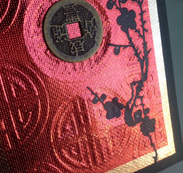 Metallic Asian-themed greeting card lisa fulmer