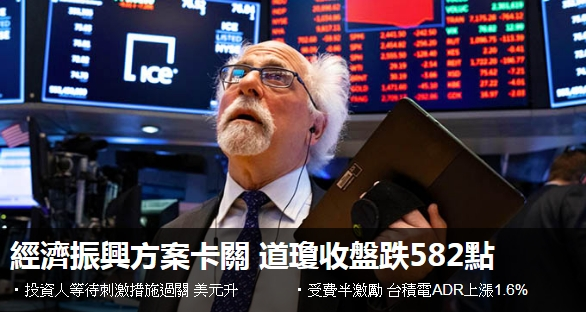經濟刺激計畫卡在國會令投資人失望 道瓊收盤跌582點