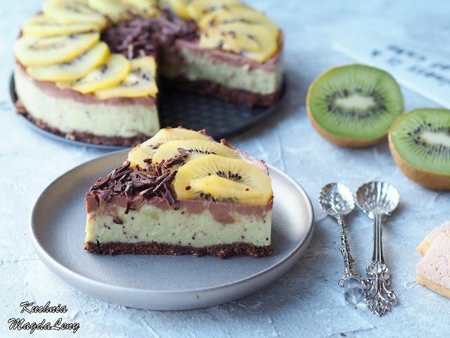 Ciasto kiwi z czekoladą sernik na zimno