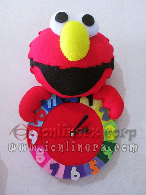 Jam Dinding Flanel Karakter Kartun Boneka Elmo Sesame Street