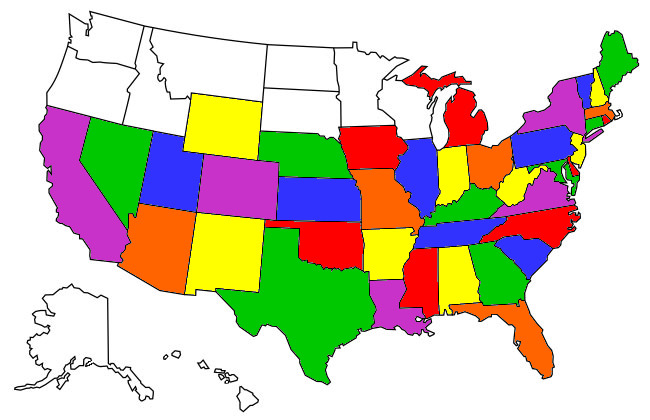States we have Visited once we went full-time