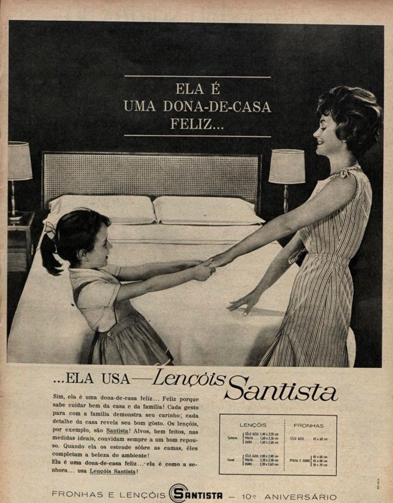 Propaganda antiga dos Lençóis Santista veiculada em revistas no ano de 1963