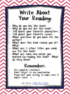 Here's a chart I made to help my green beans remember basic expectations when Responding to Reading. Blog post from Hello Mrs Sykes.