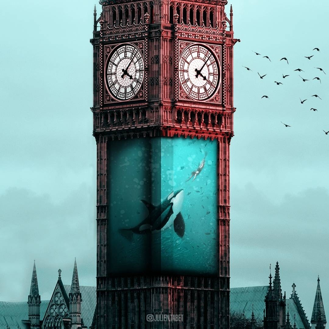 04-Big-Ben-London-Julien-Tabet-Animals-and-Architecture-Photoshopped-Surrealism-www-designstack-co