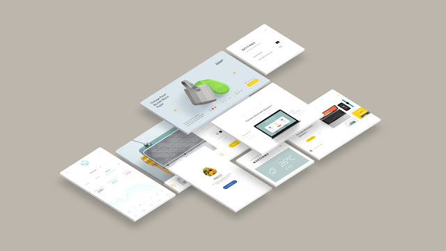 Free Web and App UI Screen Mockup PowerPoint Templates Slide 7
